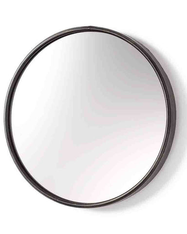 Boudoir - Large Round Wall Mirror (Black Metal Frame, Dia: 60cm)