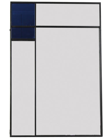 Collage - Graphic Metal Wall Art Mirror with Blue Glass H:118cm