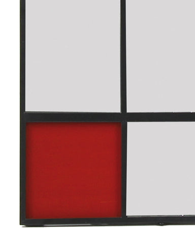 Collage - Graphic Metal Wall Art Mirror with Red Glass H:80cm-detail