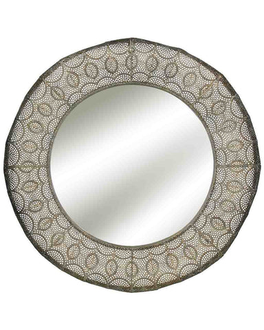 Coronne - Large Round Wall Mirror (Antique Gold Metal Frame, Dia: 71cm)
