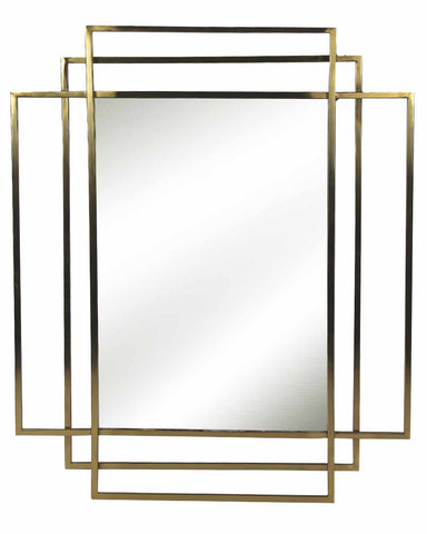 Empire - Rectangular Wall Mirror (Gold Metal Frame, H:90cm)