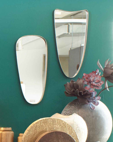 Fellie - Shield Shaped Wall Mirror in Antique Pewter H:60cm-lifestyle-close up