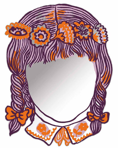 Fille - Printed Face Modern Wall Art Mirror H:47cm-white background