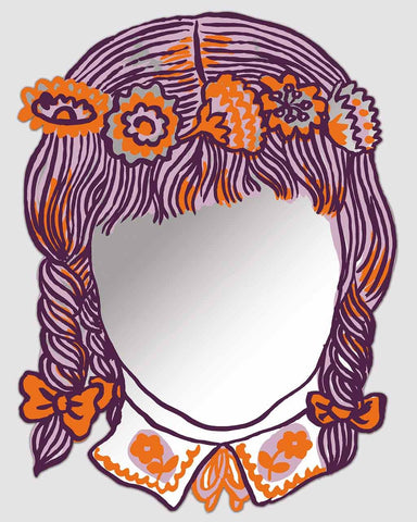 Fille - Printed Face Modern Wall Art Mirror H:47cm