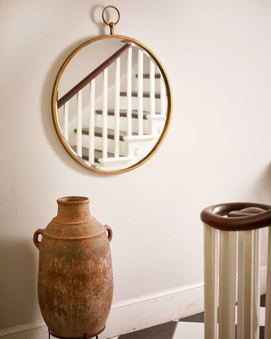 Fob Wall Mirror - Round Copper Frame H:93cm-lifestyle