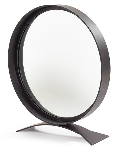 Free-Standing Table Top Mirror - Round Black Frame H:68cm