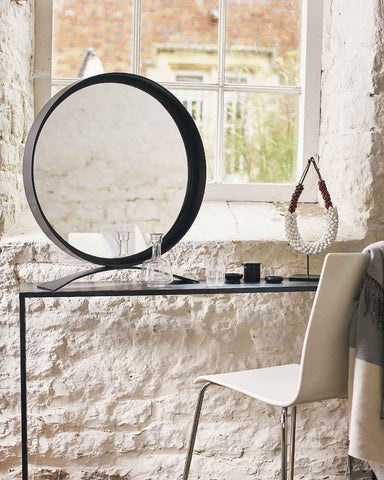 Free-Standing Table Top Mirror - Round Black Frame H:68cm-lifestyle