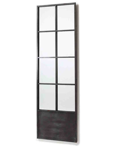 Window Pane Door Mirror (Dark Grey Metal Frame, H:200cm)