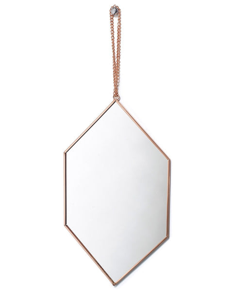 copper-framed-mirror-on-chain-diamond-shaped-h-30cm