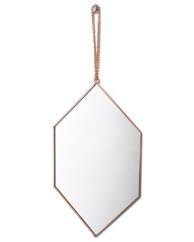 Copper Framed Mirror on Chain - Diamond Shaped H:30cm