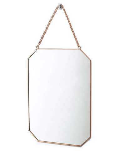 Copper Framed Mirror on Chain - Octagon-Shaped H:30cm