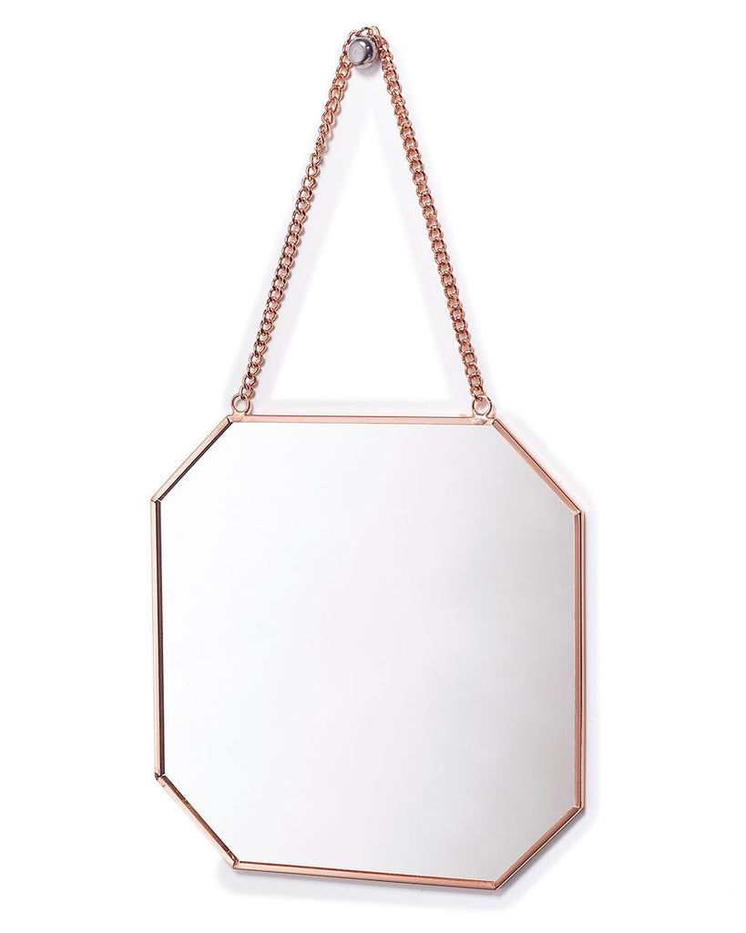 Copper mirror hanging wall mirror on chain octagon for Hanging mirror