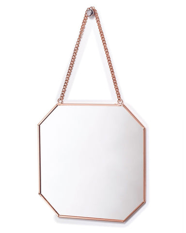 Copper Framed Mirror on Chain - Octagon Shaped W:19cm