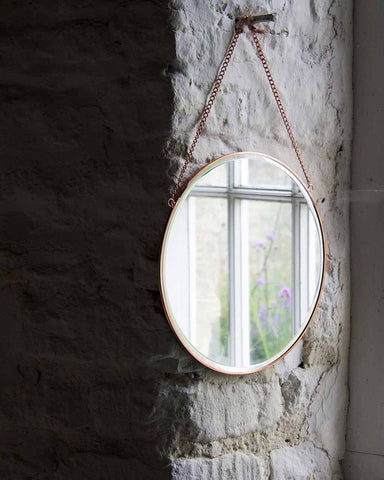 Copper Framed Mirror on Chain - Round Dia:31cm-lifestyle