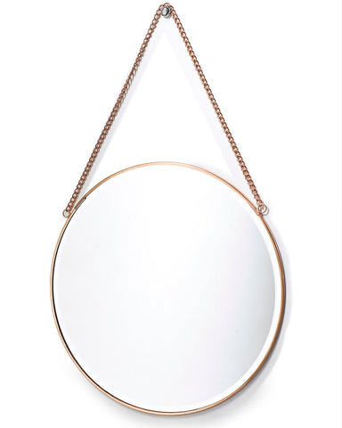 Copper Framed Mirror on Chain - Round Dia:31cm