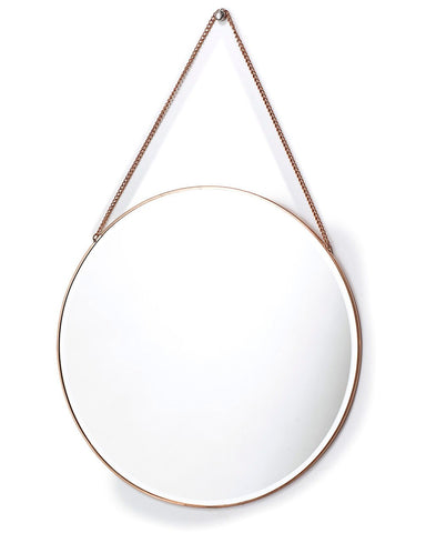 Copper Framed Mirror on Chain - Round Dia:40cm