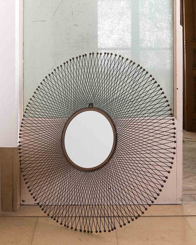 Isum Large Metal Sunburst Mirror Dia:85cm-lifestyle