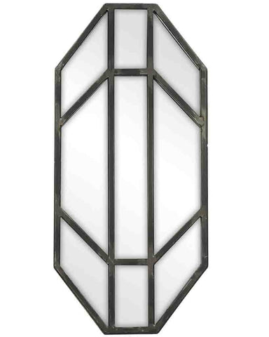 Jay - Panelled Wall Mirror (Antique Pewter Finish Frame, H:42cm)