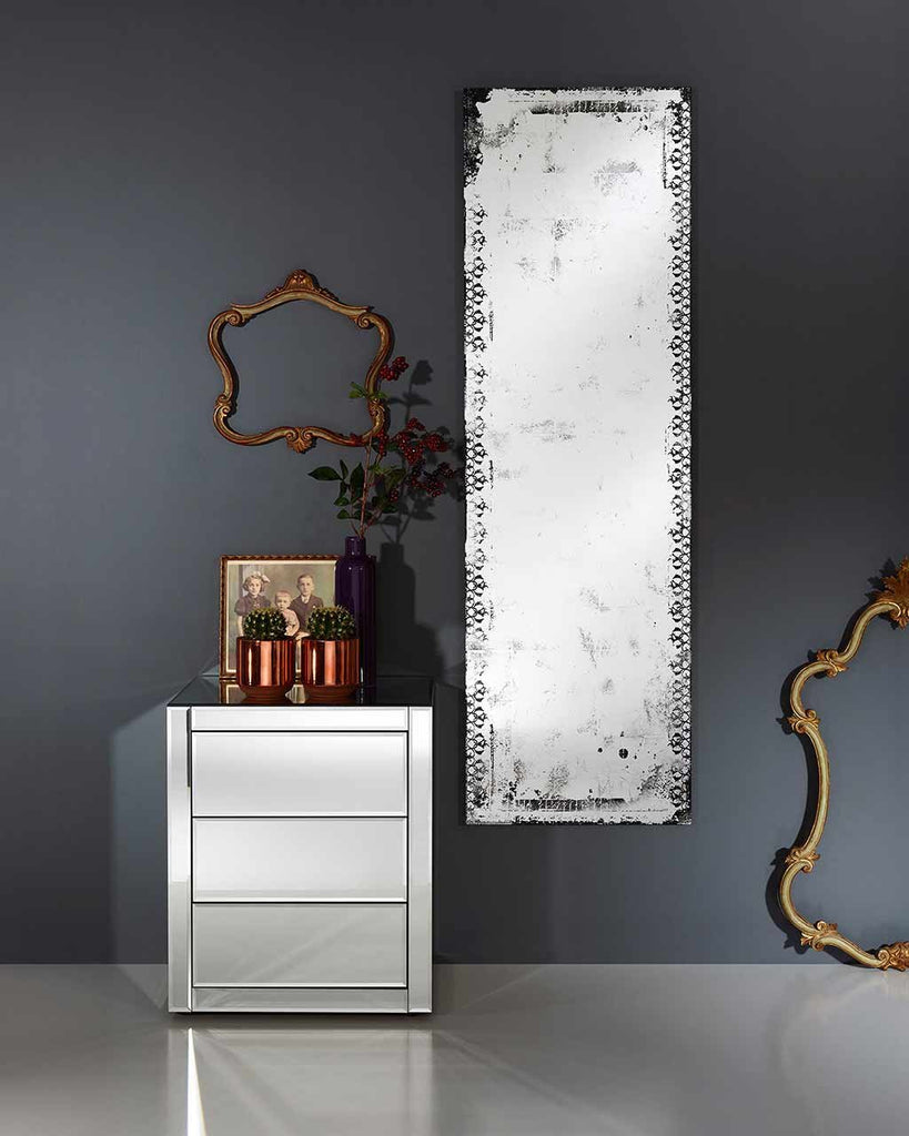 full length wall mirrors. Large-full-length-wall-mirror-distressed-glass-finish- Full Length Wall Mirrors F
