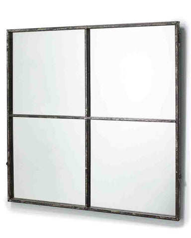 Window Pane Mirror (Distressed Black Metal Frame, 4 Panes, H:80cm)