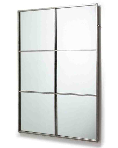 Window Pane Mirror (Antiqued Silver Metal Frame, 6 Panes) H:118cm