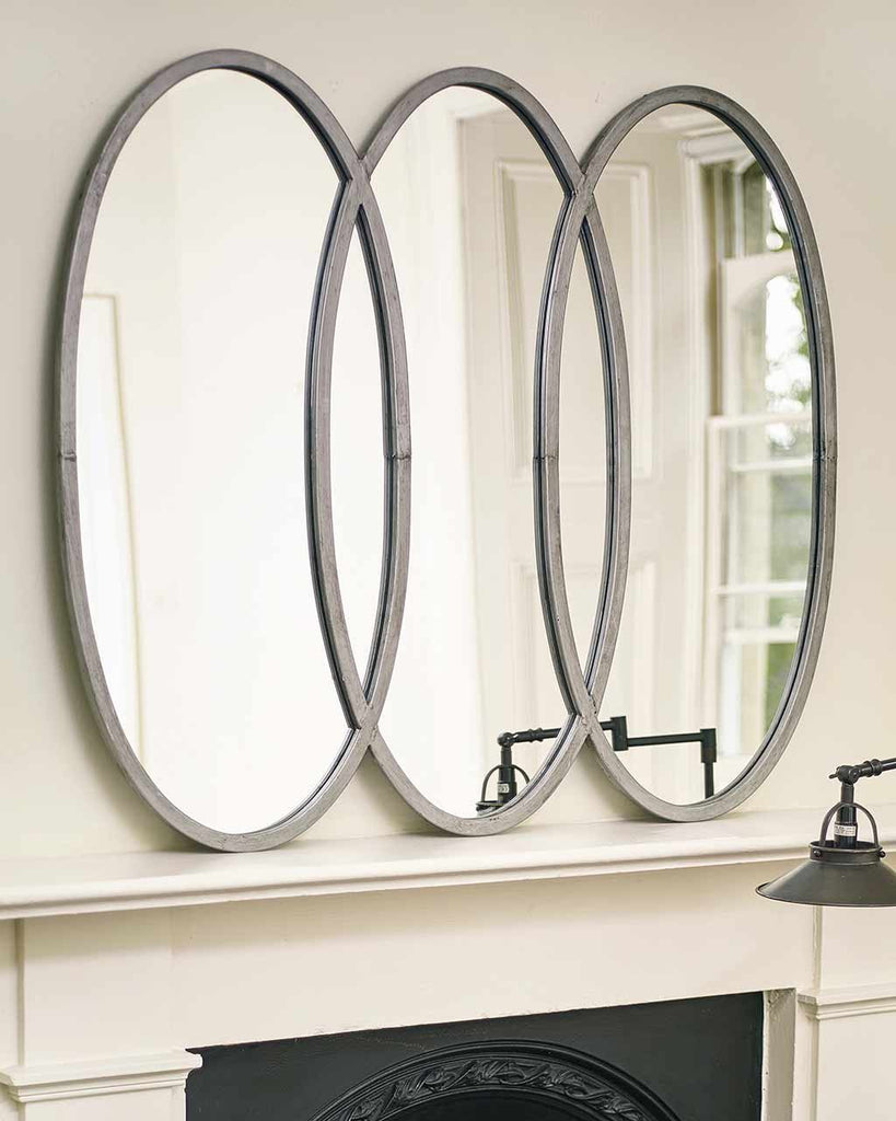 lilly large oval silver mirror with three frames