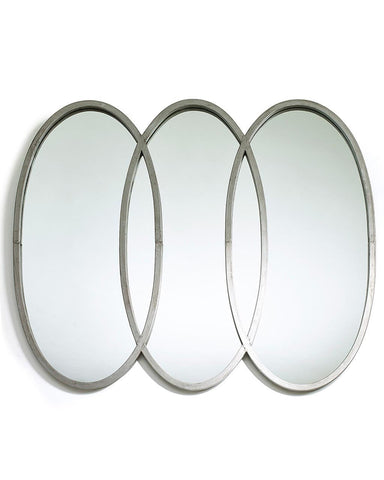 Lilly - Large Oval Silver Mirror with Three Frames W:108cm