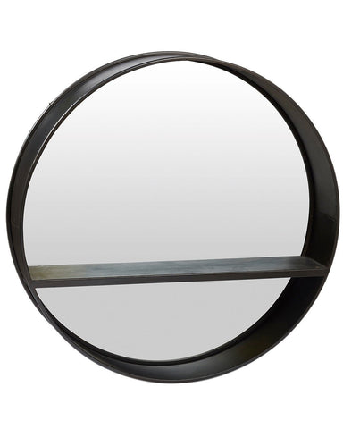 Loft - Black Round Wall Mirror with Shelf Dia:80cm