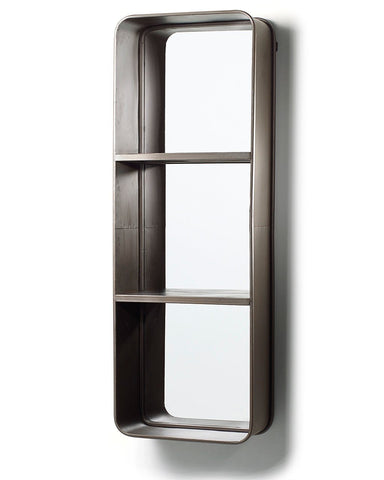 Loft - Rectangular Mirror with Two Shelves H:121cm-side view