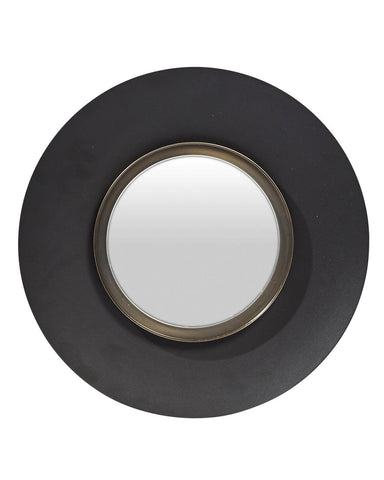 Lola - Round Wall Mirror, Medium, Black Metal Frame Dia: 40cm