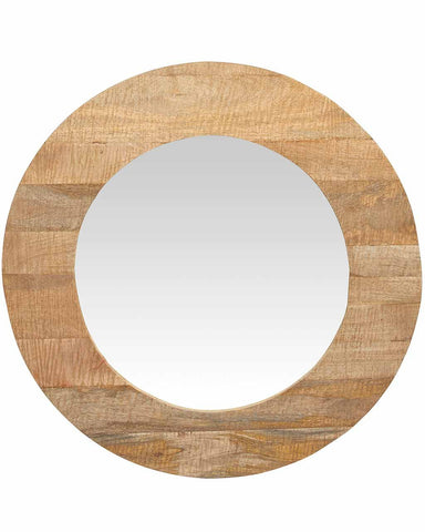 Mango Wood Framed Round Mirror, Dia:90cm