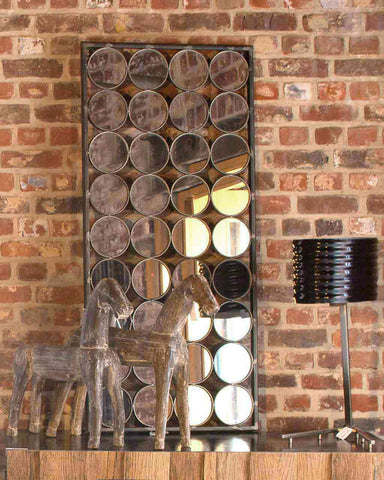 Paco - Large Rectangular Mirror with Circles H:125cm-lifestyle-detail
