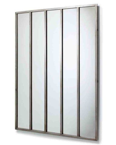 Quintet - Panelled Wall Mirror (Aged Silver Metal Frame, H:134cm)