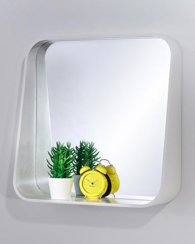 Rack Wall Mirror with Shelf - White Square Frame H:52cm-lifestyle