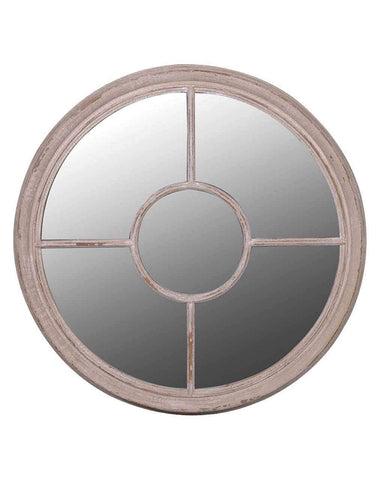 Round Window Mirror (Wooden Frame)