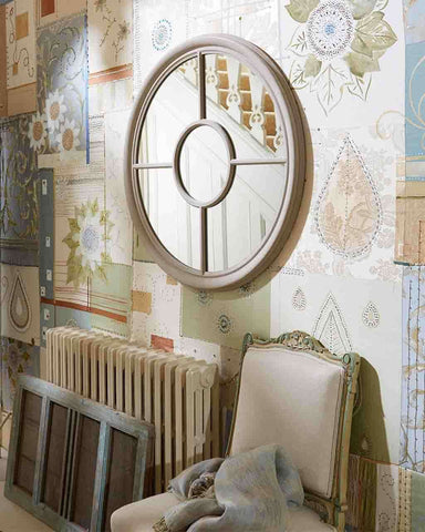 Round Window Pane Mirror (Wood Frame