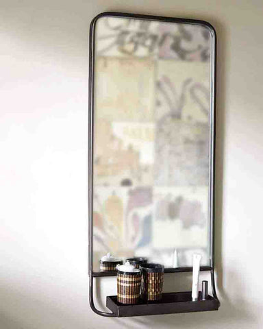 Wall Mirror with Shelf (Pewter Frame