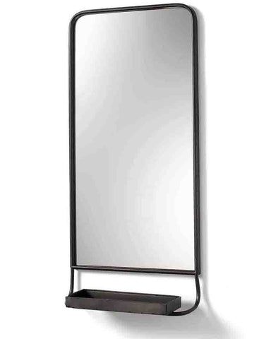 Wall Mirror with Shelf (Pewter Frame, H:86cm)