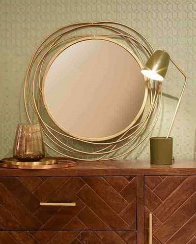 Sling - Large Round Mirror (Antique Gold Wire Metal Frame