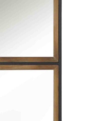 Rectangular Panelled Wall Mirror (Wood & Metal Frame, H:88cm)-detail