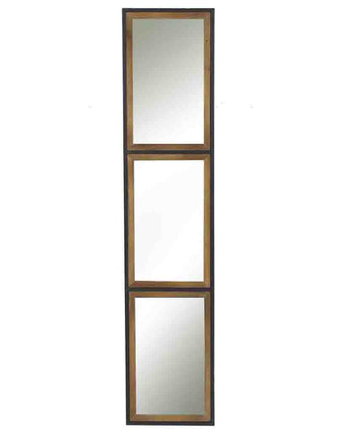 Rectangular Panelled Wall Mirror (Wood & Metal Frame, H:130cm)