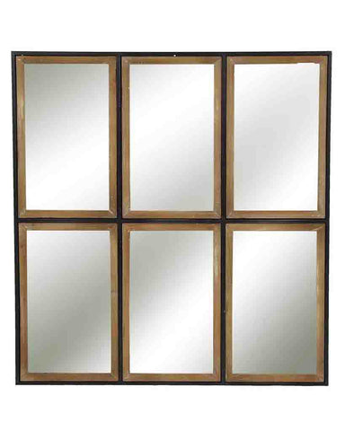 Rectangular Panelled Wall Mirror (Wood & Metal Frame