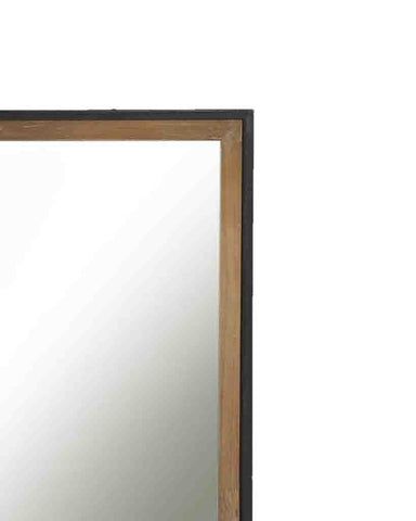 Structure - Rectangular Panelled Wall Mirror (Wood and Metal Frame, W:82cm)-detail