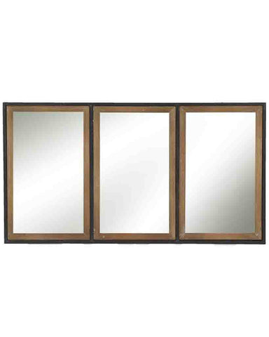 Structure - Rectangular Panelled Wall Mirror (Wood and Metal Frame