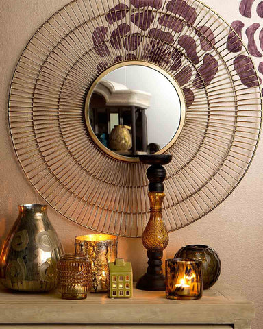 Tom - Contemporary Gold Sunburst Mirror Dia:76cm-lifestyle-close up