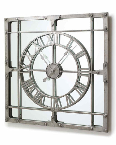 Wall Clock with Mirror - Large H:77cm-side view