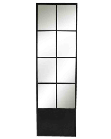 Window Pane Door Mirror (Matt Black Metal Frame