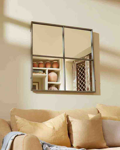Window Pane Mirror (Antiqued Silver Metal Frame