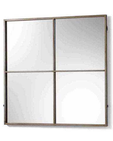 Window Pane Mirror (Antiqued Silver Metal Frame, 4 Panes, H:80cm)