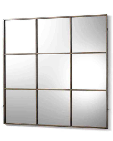 Window Pane Mirror (Antiqued Silver Metal Frame, 9 Panes, W:118 cm)
